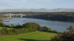 Menai Suspension bridge in North Wales Stock Footage