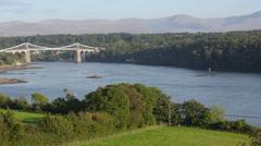 Menai Suspension bridge in North Wales Stock Footage