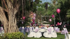 The eve of Valentine's Day, celebration on open-air restaurant in the hotel. Stock Footage