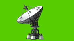 Satellite dishes antenna - Doppler radar isolated on green Stock Footage