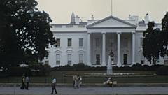 Washington 1973: people walking in front of the White House Stock Footage