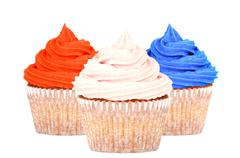 Patriotic red, white and blue cupcakes Stock Photos