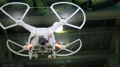 First flight quadrocopter. Radio controlled hexacopter flying machine. Stock Footage
