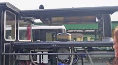 Steam train pausing at summit of mount Snowdon - stock footage