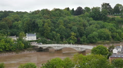 The bridge over the river Wye as seen from Chepstow castle Stock Footage
