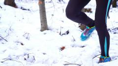 Woman running at winter in the forest, steadycam shot, slow motion shot Stock Footage
