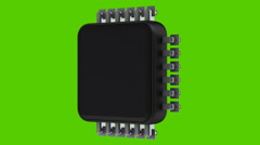 Close up Processor unit CPU isolated on green background Stock Footage