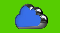 Metallic cloud isolated on green background Stock Footage