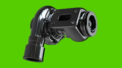 Steel turbocharger isolated on green background Stock Footage