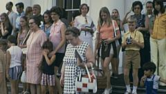 Washington 1973: visitors after a guided tour at the White House Stock Footage