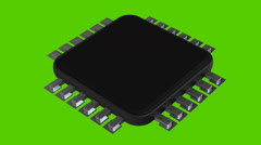 Processor unit CPU isolated on green background Stock Footage