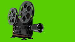 Cinema projector old-fashioned isolated on green screen Stock Footage