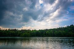 Storm clouds over Prettyboy Reservoir in Baltimore, Maryland. Stock Photos