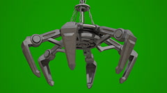 Metal mechanical crane hand on chain isolated on green - stock footage