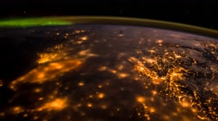 ISS Aurora And Moonglow Over West Europe, Time Lapse Fast 96fps 4K Stock Footage