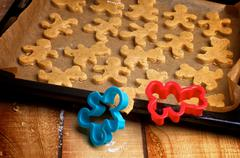 Stock Photo of Preparation Gingerbread Men
