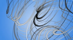Fantastic video animation with stripe wave object in motion, loop HD 1080p - stock footage
