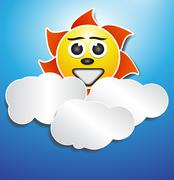 Sun and cloud paper effect Stock Illustration