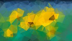 Abstract blue yellow green triangle (polygonal) background of glade, Eps vector - stock illustration