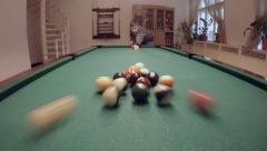 close up clip of a billiard ball triangle during the break shot - stock footage