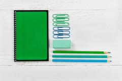 Organized supplies for work or school on desktop Stock Photos