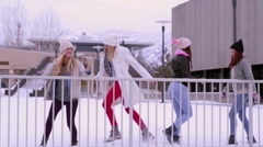 Teens Play In A Snow Covered Field, They Dance And Kick Snow At Each Other Stock Footage