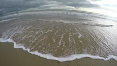 Ocean Sea Waves On A Sandy Beach (4K Wide Fish-Eye View) Stock Footage