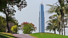 View on the skyscraper in Dubai city from golf resort - stock footage