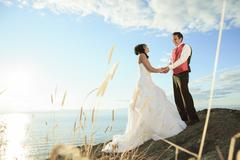 wedding fine art portrait of couple - stock photo