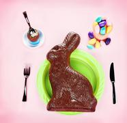 Giant Chocolate Bunny Concept - on Pink - stock photo