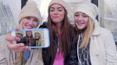 Closeup Of Smartphone Screen, As Teens Take Funny Selfie Together At A Station Arkistovideo