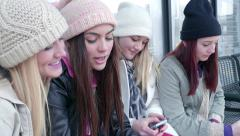 Multi-Ethinc Teens Wait For Public Transportation, They Take Selfies And Text Stock Footage