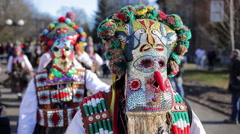 Surva mask costume festival carnival Stock Footage