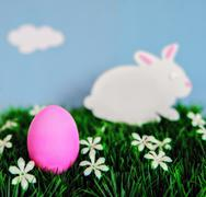 An Easter concept depicting a pink colored Egg and bunny  Stock Photos