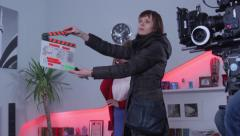 the actress starred in the promotional video. Film shooting - stock footage