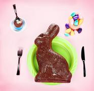 Giant Chocolate Bunny Concept - on Pink Stock Photos