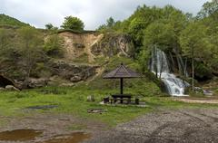 River Bigar in Serbia - waterfall cascade and summer-house - stock photo
