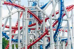 Railway of roller coaster in amusement park Kuvituskuvat