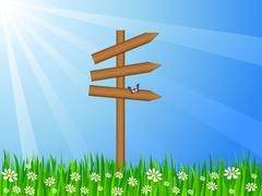 Stock Illustration of grassy field and sign post