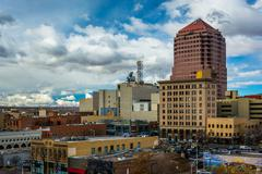 View of buildings in downtown Albuquerque, New Mexico. - stock photo