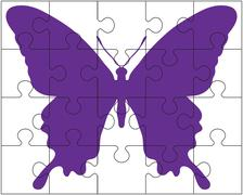puzzle and butterfly - stock illustration