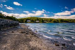 Beach on Frenchman Bay, Bar Harbor, Maine. - stock photo