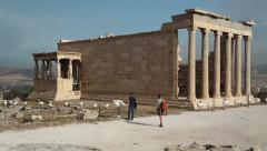 Erechtheion - antique temple in Athenian Acropolis Stock Footage