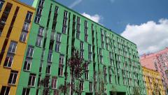 New buildings with many-coloured facades Stock Footage