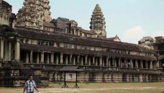 People in Angkor Wat temple in Cambodia Stock Footage