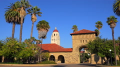 Establishing shot of the Stanford University campus at Palo Alto, California. Stock Footage