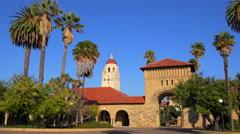 Establishing shot of the Stanford University campus at Palo Alto, California. - stock footage