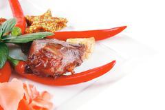 Roast beef chunks on plate Stock Photos