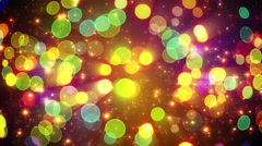 Colorful circle bokeh lights and particles loop Stock Footage
