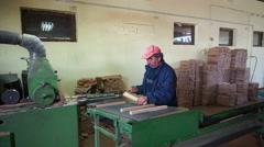 Woodwork industry male worker checking parts 2 - stock footage